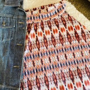 Dresses & Skirts - Rust n Blue Boho Ikat Elastic Skirt M L